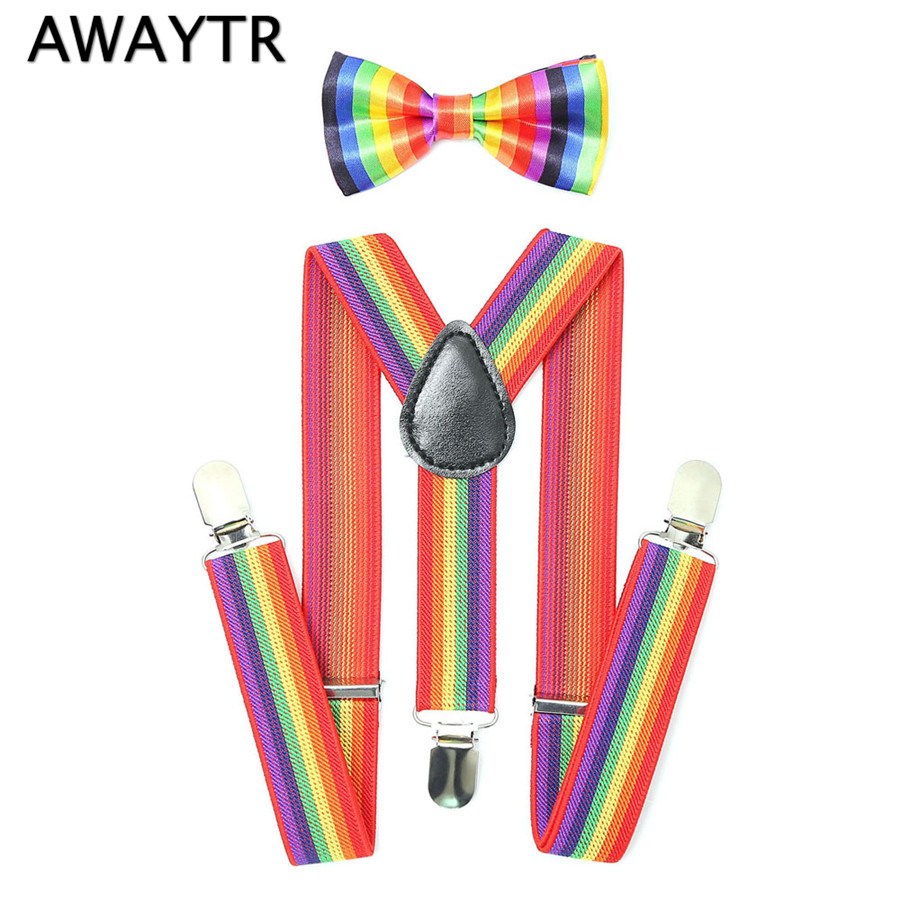 AWAYTR Cute Rainbow Striped Suspenders Kids 2018 Fashion Baby Boys Girls Braces Suspenders Set Children Party BowTie Braces