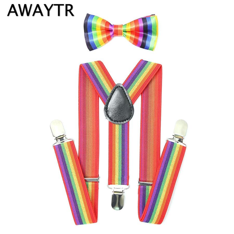 AWAYTR Cute Rainbow Striped Suspenders Kids 2018 Fashion Baby Boys Girls Braces Suspenders Set Children Party BowTie Braces