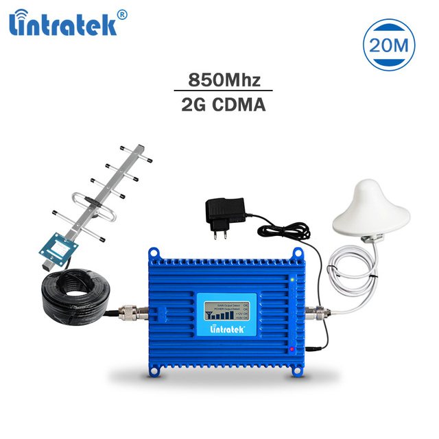 Lintratek CDMA 850 Signal Booster 2G 3G Repeater 850Mhz Band 5 Mobile Phone Signal Repeater AGC 70dB 20dBm Amplifier Full Kit