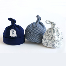 3 шт./партия, детские шапки, хлопковые детские колпачки для новорожденных мальчиков и девочек, мягкая детская шапка с принтом, аксессуары для детей 0-6 месяцев, длина регулируется