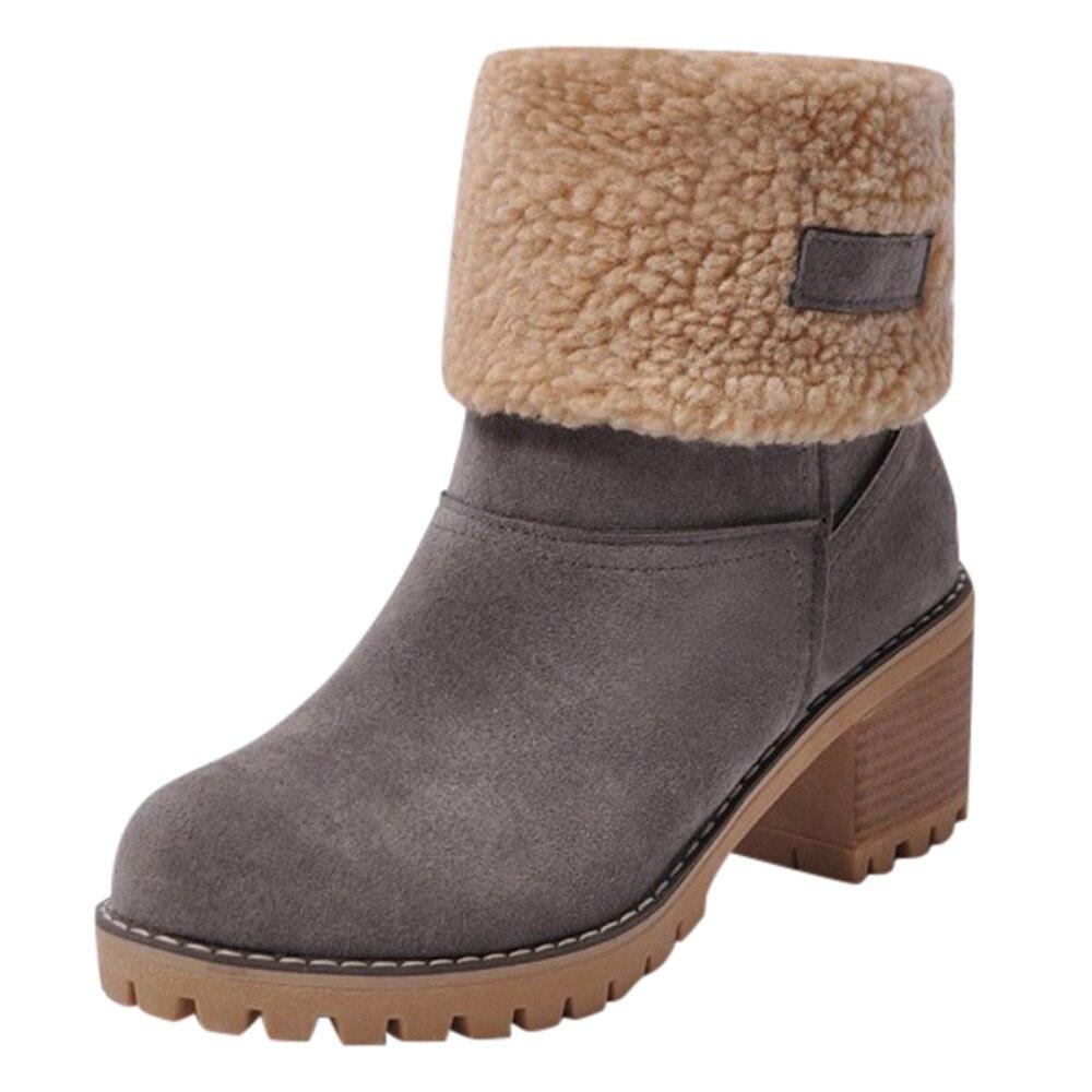 6b225a166 Купить Женская зимняя обувь, Брендовая женская обувь, сапоги до середины  икры из флока высокого качества, женские зимние теплые сапоги, большие раз.