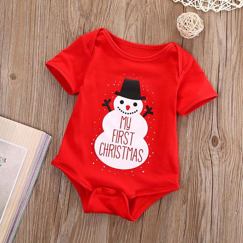 Christmas Newborn Girls Boys Cute Romper Loose Letters Print Jumpsuit Clothing