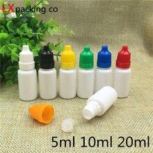 100 pçs frete grátis 5 10 20 ml branco plástico olho gota garrafa essência parfums sopa de água gota líquida vazio capacidade cosmética