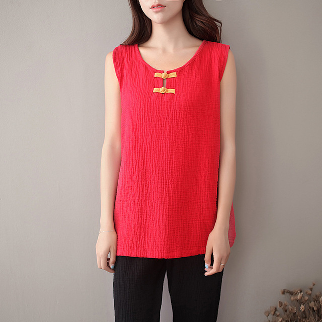 c4b7964fad0be4 O-neck Sleeveless Solid Women Tank Top Chinese style Button Cotton Casual  Tank Top Women Summer Cute Kawaii Vest Camis Tops C057