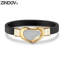 Женские кожаные браслеты из нержавеющей стали zindov золотистые