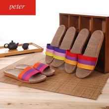 Women Flax Slippers Summer Beach Shoes Weaving Non-skid Indoor Recreational Sandals Home Bathroom Slipper Man Neutral Flip Flops цена 2017