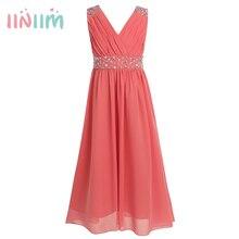 iiniim Childrens Summer Dress Sleeveless Sequins Chiffon Flower Girl Maxi Dress Princess Bridesmaid Birthday Party Tutu Dress