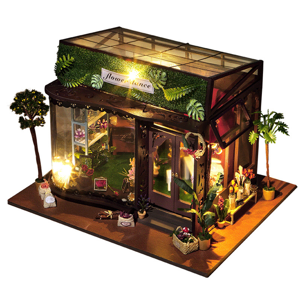 DIY Miniature Room Wooden Doll House Flower Dance with Furniture LED Lights Dollhouse Toys for Children