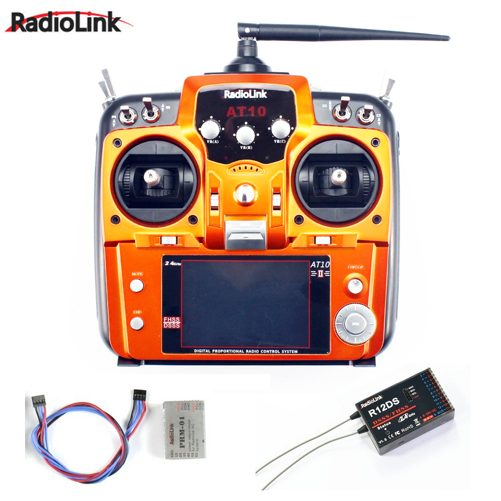 New!! RadioLink AT10 II 2.4Ghz 10CH RC Transmitter with R12DS Receiver PRM-01 Voltage Return Module for RC Helicopter Quadcopter radiolink at10 2 4g 10ch transmitter with r10d receiver
