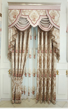 European Beige luxury curtain shading cloth cut chenille high end embroidery yarn products customized bedroom living