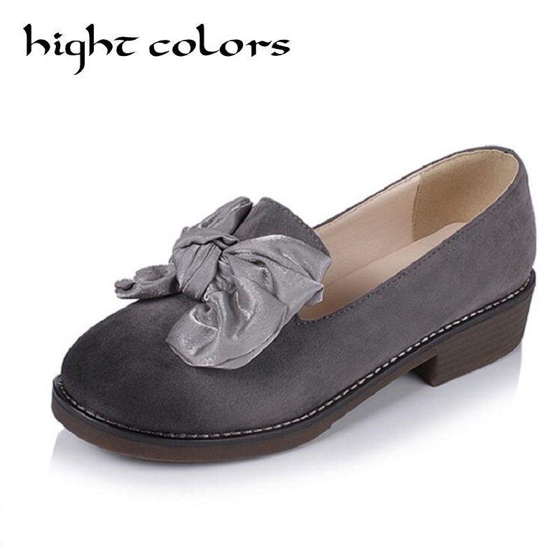 Woman Loafers Sweet Big Butterfly-knot Flats Shoes for Girls Casual Flat With Shallow Spring Women's Shoes Size 34-43 Black Grey цена 2017