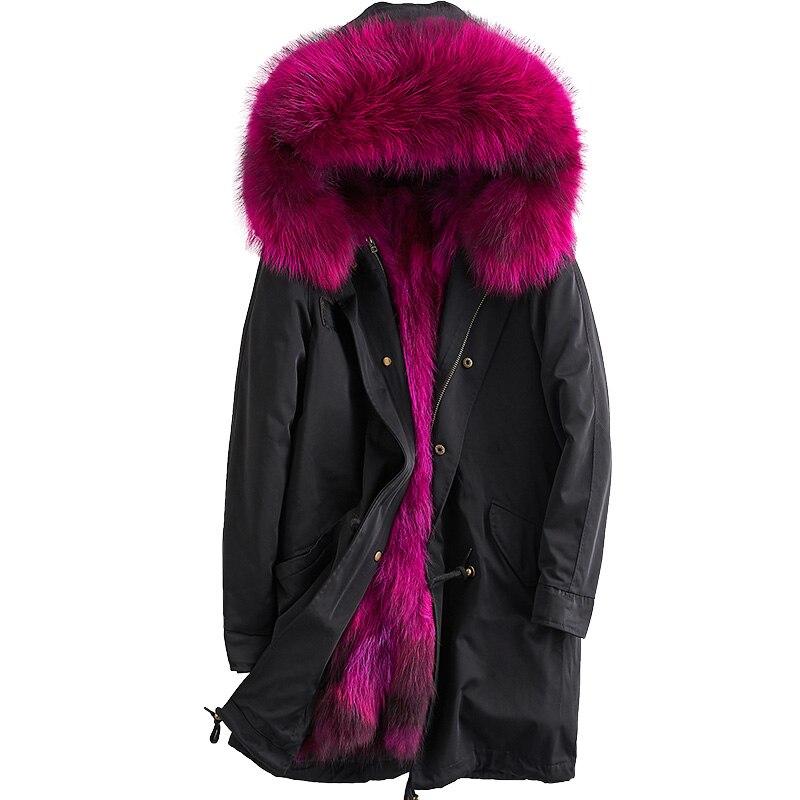 Натуральный мех пальто парки зимняя куртка женская одежда 2018 Съемная енотовидная собака Мех Лайнер корейский элегантный Длинное пальто с к...