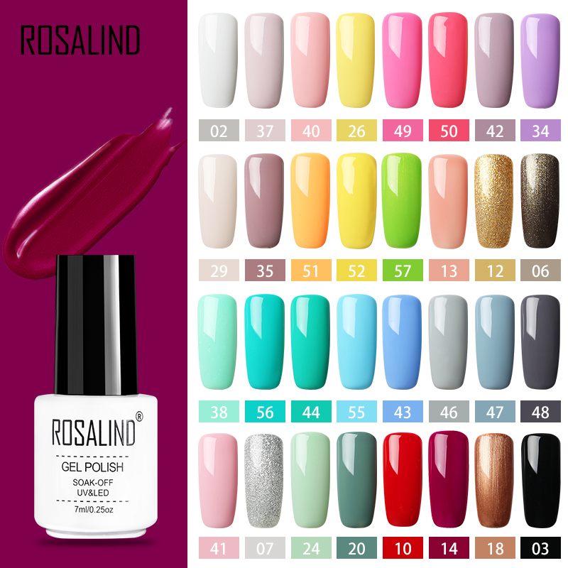 ROSALIND Gel Polish Set All For Manicure Semi Permanent Vernis Top Coat UV LED Gel Varnish Soak Off Nail Art Gel Nail Polish(China)