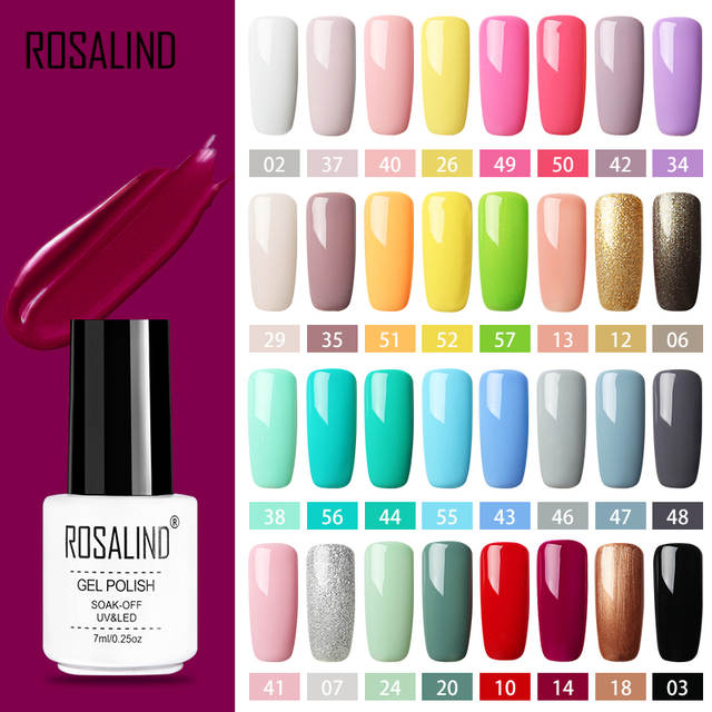 3de56b907 Online Shop ROSALIND Gel Polish Set All For Manicure Semi Permanent Vernis  top coat UV LED Gel Varnish Soak Off Nail Art Gel Nail Polish