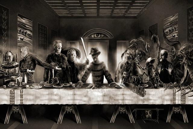 Last Supper Freddy Vs Jason Horror Funny Art Silk Poster Print Room Wall 24 Inch X36