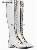 Для Женщин Очаровательный Bling серебряное зеркало Лакированная кожа на шнуровке сапоги до колена на низком каблуке сапоги с квадратным носк