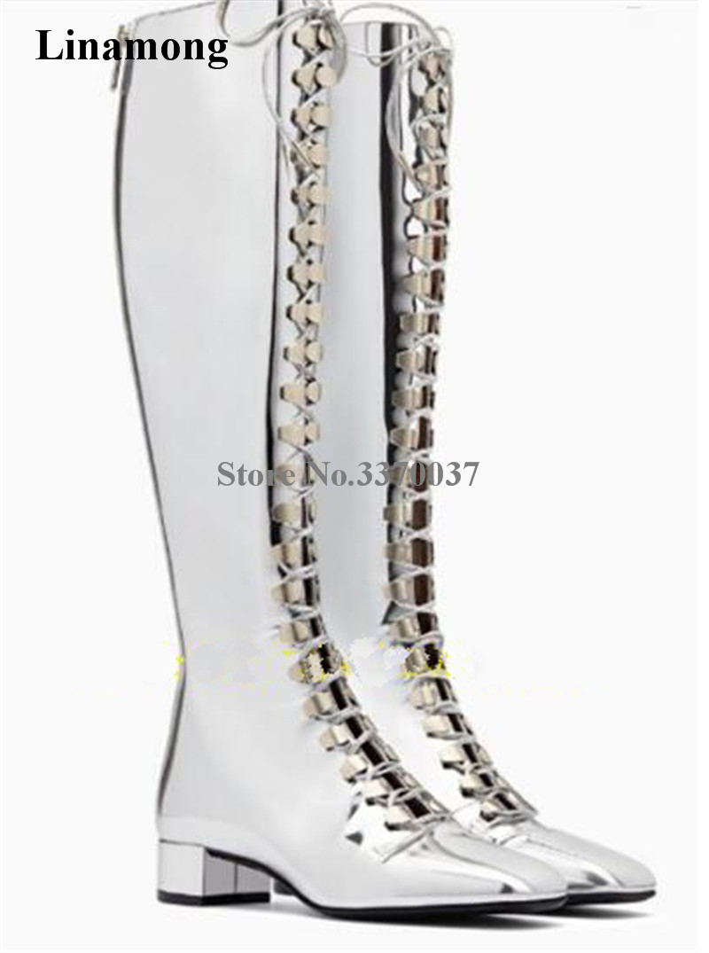 Women Charming Bling Silver Mirror Patent Leather Lace-up Knee High Low Heel Boots Square head Sexy Long Flat Boots Club Shoes lace up plunge neckline high low sweater