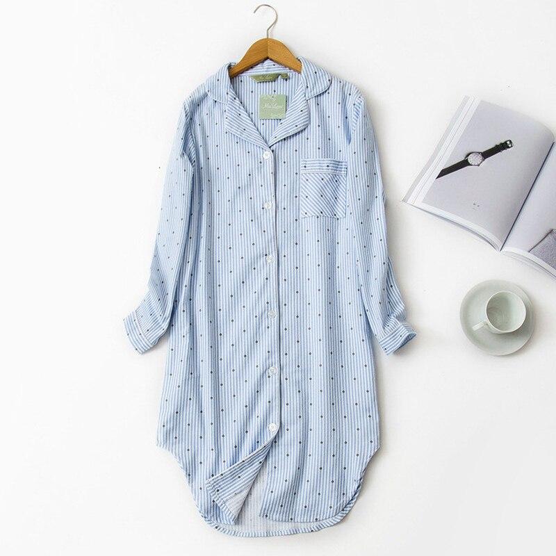 Autumn Stripe nightdress Polka Dot Sexy   nightgown   women   sleepshirts   100% brushed cotton fresh simple Women Sleepwear night dress
