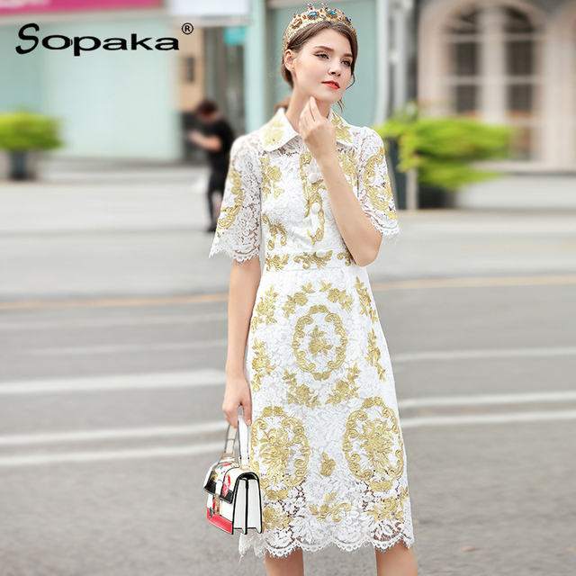 Lady A Clothes Designer | 2018 Spring White Lace Gold Floral Embroidery Lady Dress Half Sleeve