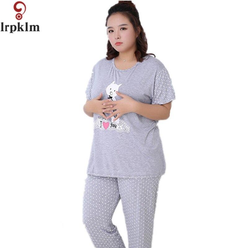 Для женщин летние хлопковые милые дамы Пижамы для девочек плюс Размеры 5xl короткий рукав для сна Домашняя одежда Пижама Femme sy515