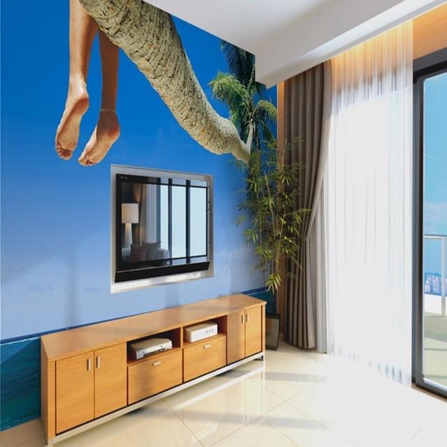 beibehang mediterranean navy blue ocean pattern papel de parede 3d photo murals wallpaper for kids