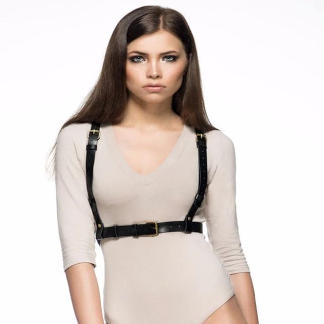 Arnés de cuero con estilo mujeres únicas hechas a mano double row borla correas de cintura cuerpo servidumbre cinturones correas de accesorios