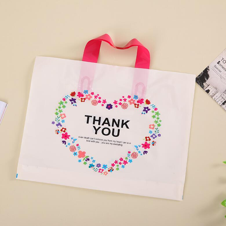 28*33cm  Thank You  Packing Bag with Handle, Plastic Transparent Storage bags for Jewelr ...