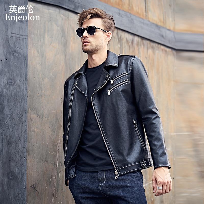 Enjeolon 2017 бренд PU Кожаные Мотоциклетные Куртки Для мужчин регулярные ткани модные Костюмы Повседневное черный пальто Бесплатная доставка P310