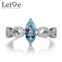 Leige Jewelry Aquamarine Rings Women Blue Gemstone 925 Sterling Silver Fine Jewelry Engagement Promise Rings March Birthstone