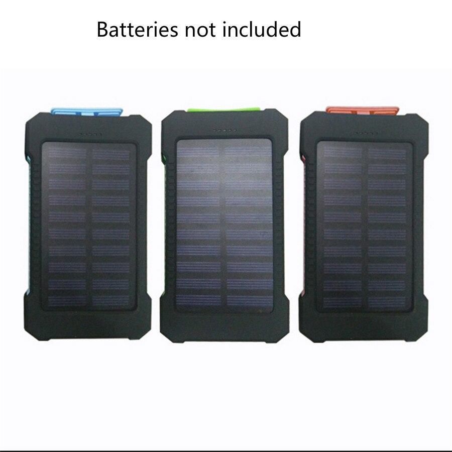 10000mAh LED Dual USB Ports Solar Panel Power Bank Case DIY Kits Box for Samsung S8 Xiaomi USB External Batteries not included