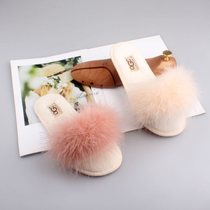 Image 4 - FAYUEKEY 2019 Spring Summer Winter Women Home Cotton Plush Fur Slippers Big Size Indoor Floor Bedroom Flat Shoes Free Shipping