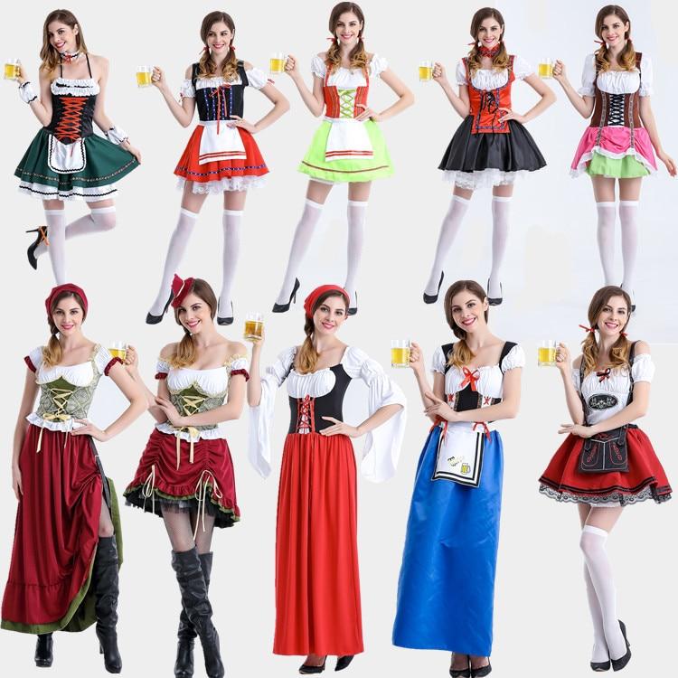 2017 Nouveau Femmes Jeune Fille de Bière Costume Allemand Bavarois Bière  Oktoberfest Fille Costume Gothique Lolita