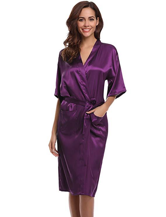 PURPLE Womens Robe Hot Sale Faux Silk Kimono Bath Gown Female Sexy Bathrobe Nightgown Mujer Pijama Size S M L XL XXL XXXL Zh02A