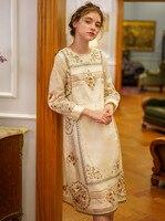 Весеннее женское винтажное элегантное Формальное короткое платье Дамское ретро ручная работа Ограниченная серия античное изысканное шелк