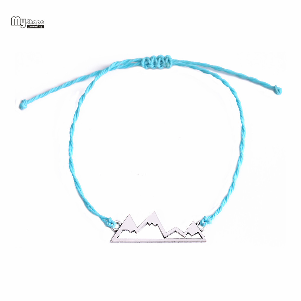 6bf54e35a668b My Shape Antique Silver Cut Out Mountain Charms Waxed Cord Friendship  Bracelet Adjustable Size Handmade Knot Cheap and Simple