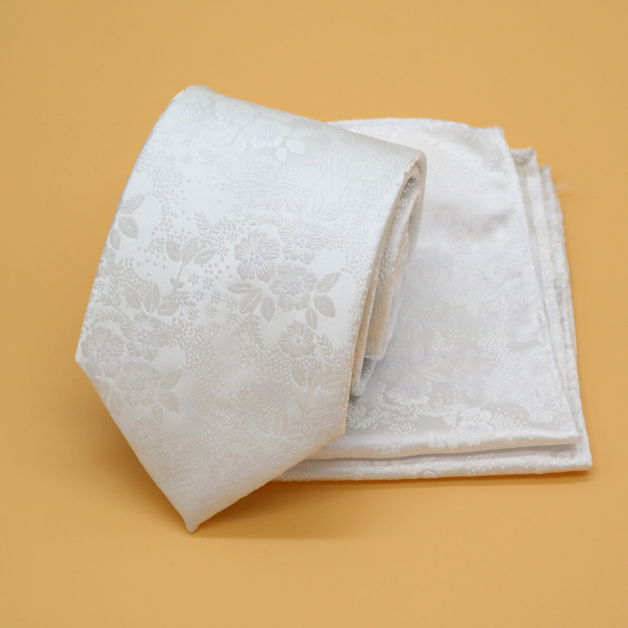 TOP quality mens ties gravatas tie set 8CM Adult neckties handkerchief Cravat Man Wedding Party Business White Small Flowers