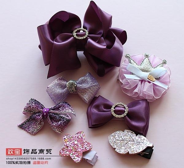 1 dəst yay qız uşaqları cute bowknot saç klipləri pin barrette - Geyim aksesuarları - Fotoqrafiya 6