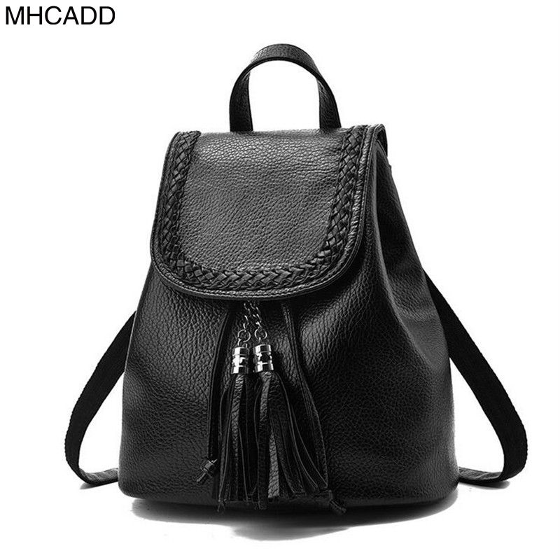 MHCADD Women Backpacks 2017 Tassel Backpack Bags High Quality Small Female Shoulder Bag PU Leather Backpacks