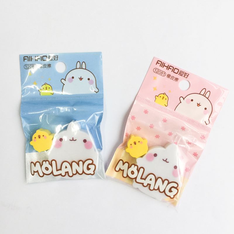 2pcs /Bag Molang Pet +Duck Eraser Rubber Erasers Correction School Office Supply Student Stationery Kid Gift