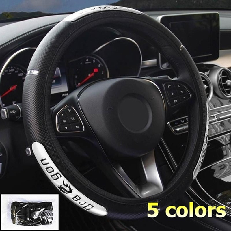 Car-Accessories Steering-Wheel-Covers Faux-Leather Dragon-Design Auto Reflective