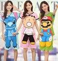 Verano de manga corta pijama de algodón lindo mujeres coreanas de dibujos animados pijamas siamés de la historieta de punto