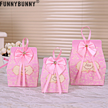 FUNNYBUNNY  5PCS Pink Wedding Favors Gifts Candy Box Chocolate W Ribbon Sweet Gift Bags