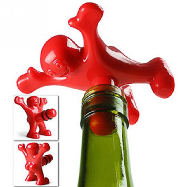 5 штук в партии Пластик красный счастливый человек бутылки вина пробки Кухня Барные инструменты Fit общего бутылки вина