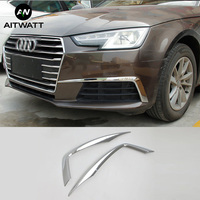 Fit For Audi A4 Sedan B9/9L 2016 2017 Exterior Front Foglight Eyelid Fog Light Eyebrow Lamp Cover ABS Chrome Trims 2Pcs AITWATT