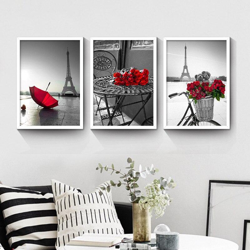 현대 벽 예술 그림 빨간 장미 꽃 홈 장식 그림 페인트 캔버스 모듈 인쇄 포스터