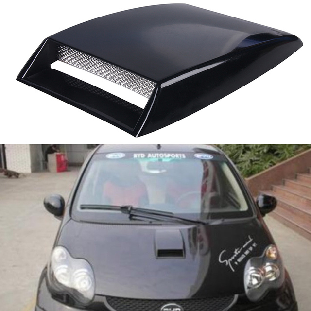 Universal Mobil Stiker Mobil Dekoratif Aliran Udara Masuk Sendok Turbo  Bonnet Vent Cover Hood Menghias Hitam 06c9a73217