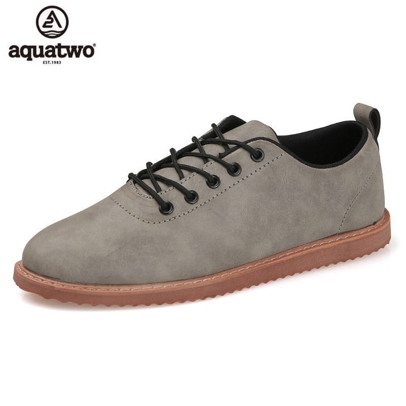 AQUATWO Oxford Shoes For Men Zapatillas Hombre Casual Artificial Leather Lace Up Flat Loafers Oxford Leather Shoes Men Hot Sale 2016 new fashion genuine leather men casual oxford shoes zapatillas hombre hot sale good quality comfortable male shoes