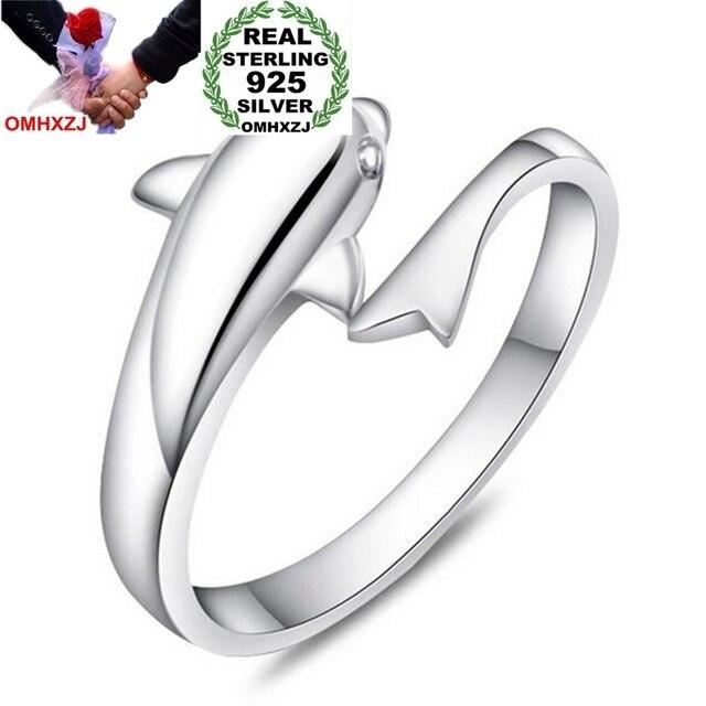 b1e2c9520d OMHXZJ Wholesale Fashion Joker Simple Dolphin Lovers Couple 925 Sterling  Silver open adjust female for Woman Man Ring Gift RG17