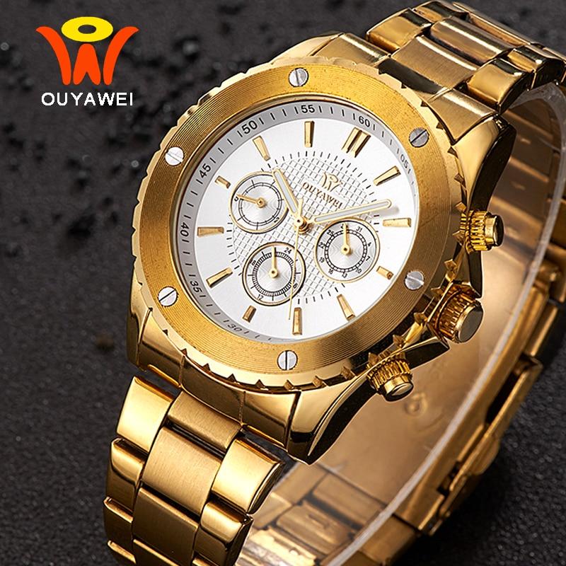 Ouyawei hombres reloj mecánico 2017 marca de lujo de metal dorado - Relojes para hombres