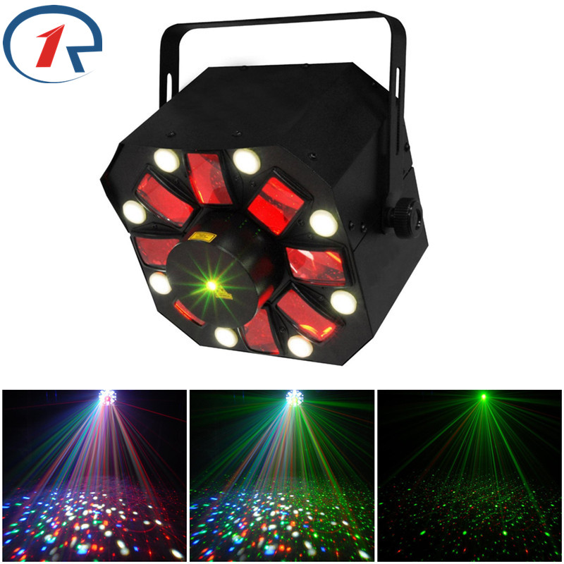 ZjRight 3 in 1 Laser/Strobe/Rotating party stage light Moon flower Effect Moving Laser Lights 8 White Strobe LED bar disco Xmas цена